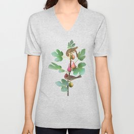 Rosefinches in Fig Tree Unisex V-Neck