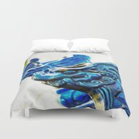 tooth Duvet Covers featuring Blue Tooth by Santiago & James