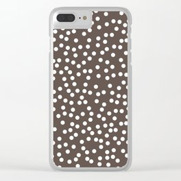 Brown and White Polka Dot Pattern Clear iPhone Case