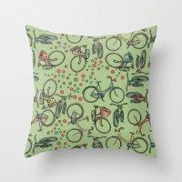 bikes Throw Pillows featuring Bikes by Catru