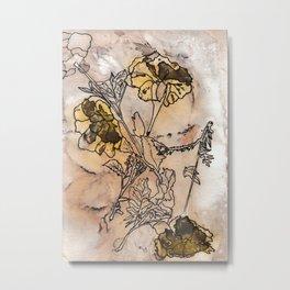 inked yellow flower & leaf print Metal Print