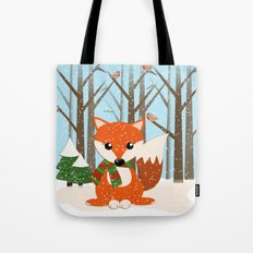Cute winter fox with a red / green scarf, Tote Bag