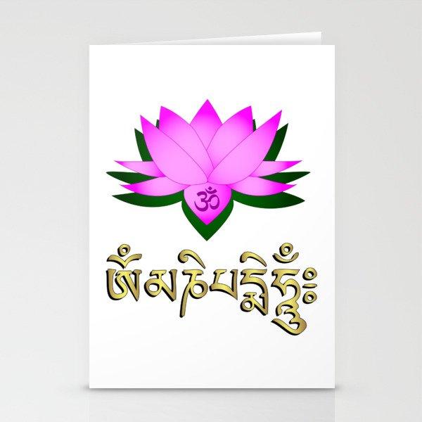 Lotus Flower Om Symbol And Mantra Om Mani Padme Hum Stationery