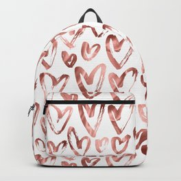 Rose Gold Pink Hearts Pattern on White Backpack