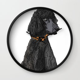Misza the Black Standard Poodle Wall Clock