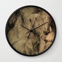 horses Wall Clocks featuring Horses by MikakoskArts