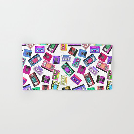 Retro 80's 90's Neon Patterned Cassette Tapes Hand & Bath Towel