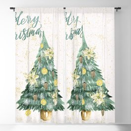 Christmas Tree Merry Christmas Blackout Curtain