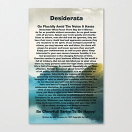 Inspirational Typography Wall Art, Lakeside Mountain, Desiderata Poem by Max Ehrmann Canvas Print