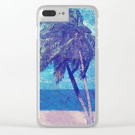 Stormy day at the beach Palm trees Clear iPhone Case