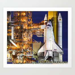 Discovery Space Shuttle Launch Art Print