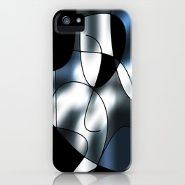 ABSTRACT CURVES #1 (Black, Grays & White) iPhone Case