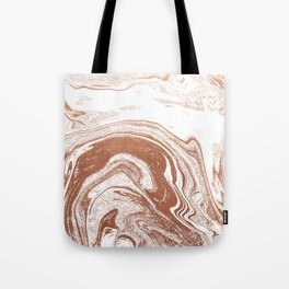 Marble copper metallic suminagashi spilled ink japanese marbling abstract ocean swirl Tote Bag