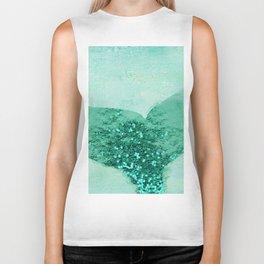 A Mermaid's Tail III, painterly coastal art, aqua metal Biker Tank