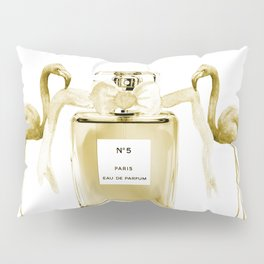 Beige perfume, flamingos Pillow Sham
