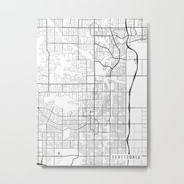 Scottsdale Map, Arizona USA - Black & White Portrait Metal Print