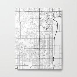 Scottsdale Map, Arizona USA - Black & White Portrait Metal Print