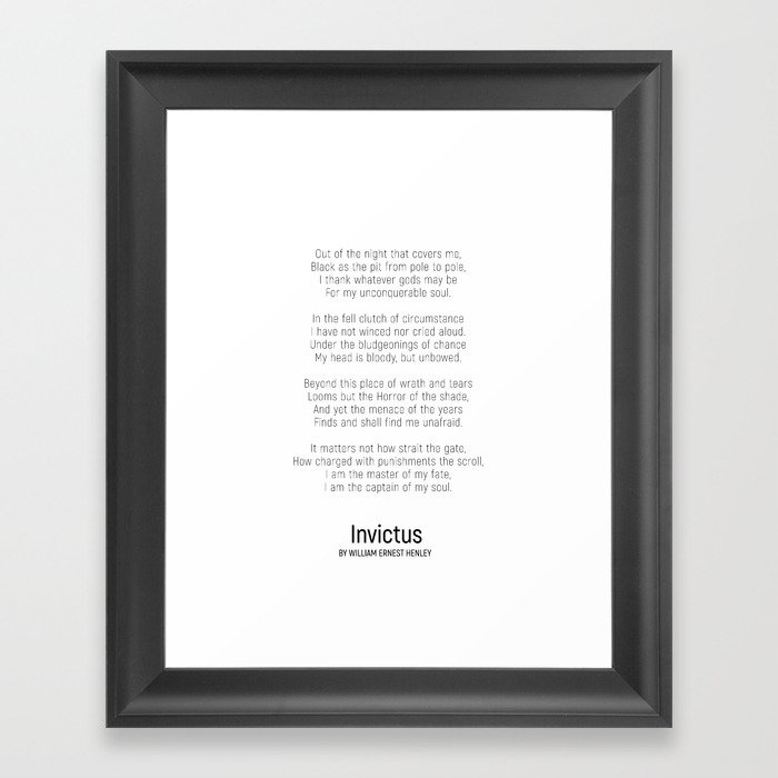Invictus By William Ernest Henley Minimalist Poem Framed Art Print By Andreaanderegg