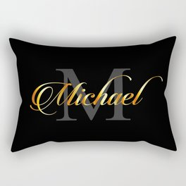 Name and initial of a boy Michael in golden letters Rectangular Pillow