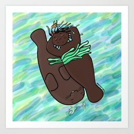 Mermaid & Manatee Art Print