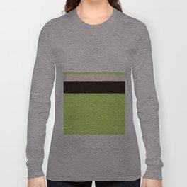 Modern Lime Green Color Block Gray Stripes White Long Sleeve T-shirt