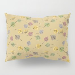 Colorado Aspen Tree Leaves Hand-painted Watercolors in Golden Autumn Shades on Jute Beige Pillow Sham