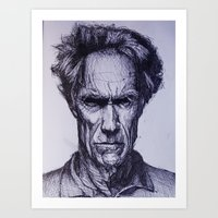 clint eastwood Art Prints featuring Clint Eastwood by Bronsolo Illustration