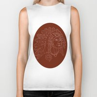 native american Biker Tanks featuring native american by johanna strahl