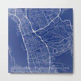 Chula Vista Map, USA - Blue Metal Print