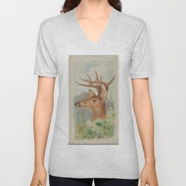 Vintage White Tail Deer Illustration (1888) Unisex V-Neck