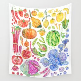 Rainbow of Fruits and Vegetables Wall Tapestry