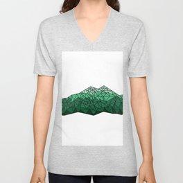 Geometric Mountains (Green) Unisex V-Neck