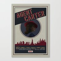 agent carter Canvas Prints featuring Agent Carter by Adele Hentz