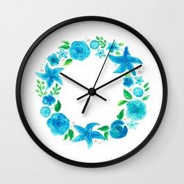 Key West Beachy Wreath Wall Clock