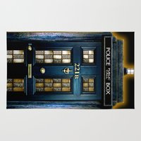 221b Area & Throw Rugs featuring Tardis doctor who Mashup with sherlock holmes 221b door by Three Second
