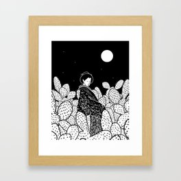 Japanese Lady in a Cactus Field at Night Framed Art Print