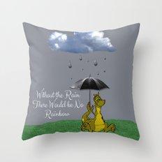 Raining Rainbow Dragon Throw Pillow