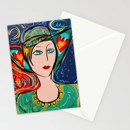Pop Girl Art Deco with Hat and hearts Stationery Cards