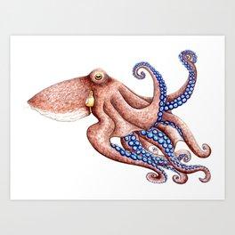 Blue octopus Art Print