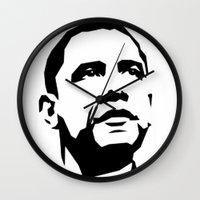 obama Wall Clocks featuring barak obama by b & c