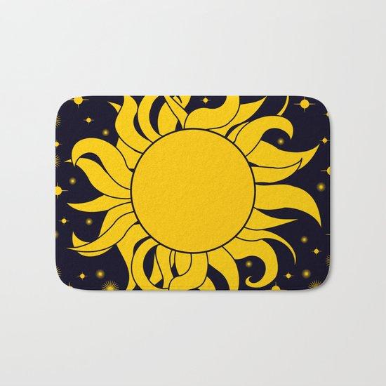 Bold Yellow Sun & Stars On Dark Blue Bath Mat