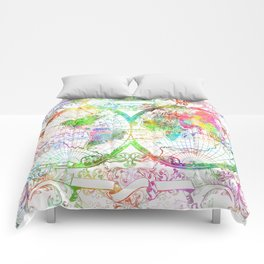 world map vintage watercolor Comforters