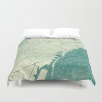 vintage map Duvet Covers featuring Barcelona Map Blue Vintage by City Art Posters