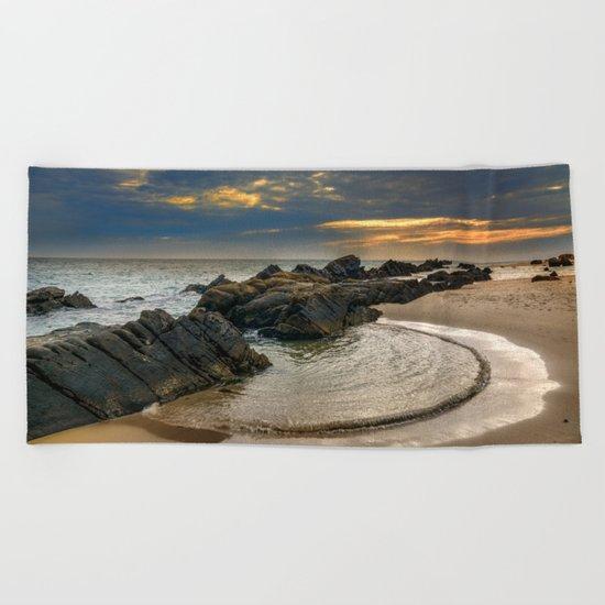 Windy Tarifa beach. Wild swiming pools. Beach Towel