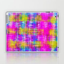 plaid pattern painting texture abstract background in pink purple blue yellow Laptop & iPad Skin