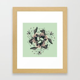 Horses and birds Framed Art Print