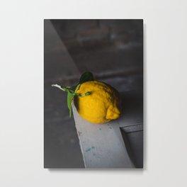 1 lemon, food photography, stil-life, dutch old masters, dark moody photo Metal Print
