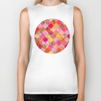 bedding Biker Tanks featuring Hot Pink, Gold, Tangerine & Taupe Decorative Moroccan Tile Pattern by micklyn