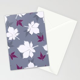 Serene Leaves Pattern Stationery Cards