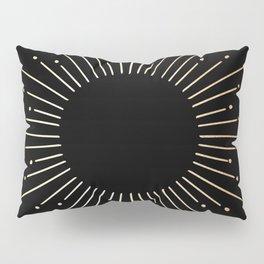 Sunburst Gold Copper Bronze on Black Pillow Sham